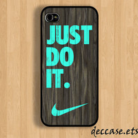IPHONE 5 CASE NIKE Just do it wood colored mint darkwood Wooden iPhone 4 case iPhone 4S case iPhone case Hard Plastic Case Soft Rubber Case