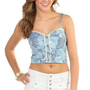 chambray cropped tank top with floral print and lace detail - 1000044244 - debshops.com