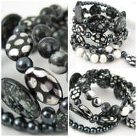 Black & White Zebra Stone Czech Glass & Spotted Shell Bracelet