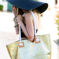 LARGE ROPE HANDLE BEACH BAG