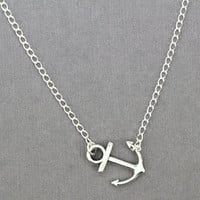 Sideways Anchor Necklace : Silver Plated Sideways Anchor Nautical Necklace, Summer, Beach, ArtisanTree, Asymmetrical, Offside, Off Center