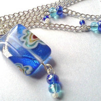 Blue foiled glass flower pendant necklace silver by PinkCupcakeJC
