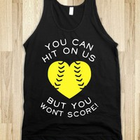You Can Hit On Us But You Won't Score (Dark Tank) - Sports Girl - Skreened T-shirts, Organic Shirts, Hoodies, Kids Tees, Baby One-Pieces and Tote Bags