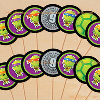 Teenage Mutant Ninja Turtle Inspired Cupcake Toppers Printable, DIY File