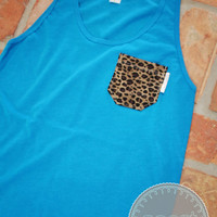 Neon Blue Tank with Leopard Print Fabric Pocket