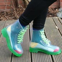 Clear Jelly Dr Martin DM Style Ankle See Through Boots  from jabberwocky