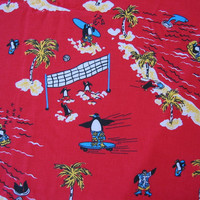 Vintage Novelty Fabric Penguins Summer Fun - 5 YARDS, 7 INCHES