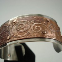 Etched Copper and Sterling Silver Cuff