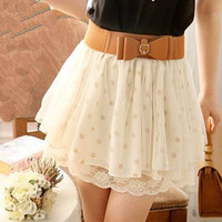 Short skirt of tall waist lace wave point