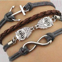 Owl anchor infinity bracelet