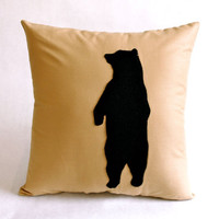 Beige and Black Bear Decorative Pillow - CUSTOM COLOR