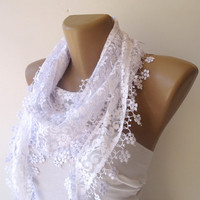 trendscarf for spring summer , new women scarf ,scarf trends, white scarf, Cowl Scarf with Lace Edge