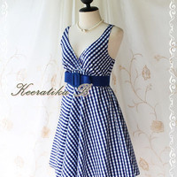 Princess Lulla Summer Dress - Sweet Cutie Spring Summer Dress Checkered Sundress Princess Lulla Collection Bright Indigo Color Party Dress
