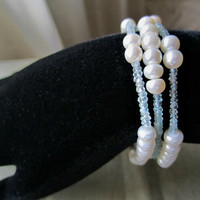Three Strands Pearl and Aquamarine Bracelet