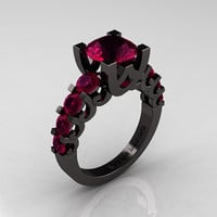 Modern Vintage 14K Black Gold 3.0 Carat Raspberry Red Garnet Designer Wedding Ring R142-14KBGRRG