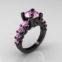 Modern Vintage 14K Black Gold 3.0 Carat Light Pink Sapphire Designer Wedding Ring R142-14KBGLPS