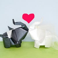 The bride and the groom 3D free style origami by JinniInTheLamp