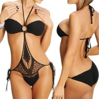 LOCOMO Sexy One Piece Scrunch Bottom Style Crochet Bathing Suit BM05 BK One Size Black