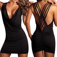 LOCOMO Sexy Women Fashion Open Back Cowl Neck Party Clubwear Cocktail Lycra Mini Dress BD215 BK One Size Black