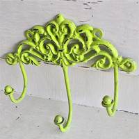 Wall Metal Hook /Lime Green /Bright Shabby Chic by AquaXpressions