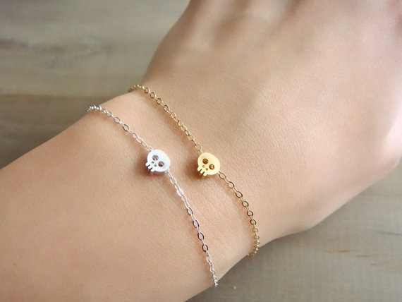Tiny Skull Bracelet in GOLD by Beazuness on Etsy