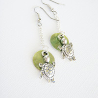 Nautical Turtle Earrings with Green Mussel Shells