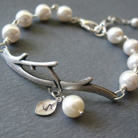 PERSONALIZED PEARL BRANCH Bracelet Bridesmaids by BlueDoveStudio