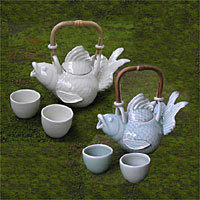 Stoneware tea set - Fish Legends (set for 2) - NOVICA