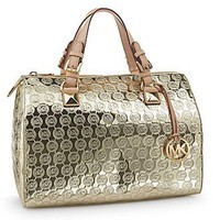 Amazon.com: Michael Michael Kors Grayson Large Satchel Pale Gold handbag tote $298 New: Shoes