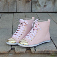 Studded Peach High Tops, Sweet Rugged Boots