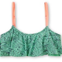 Malibu Warrior Dance Mint Flounce Bikini Top