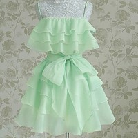 Green multi-flounced party strap dress skirt