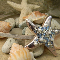 Starfish Headband,  Swarovski Rhinestone and Pearl Starfish Headpiece, Beach Wedding, Silver Plated Starfish