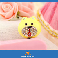 1PC Bling Crystal Cute Bear w/Diamonded Mouth Earphone Charm Cap Anti Dust Plug for iPhone 5, iPhone 4, Samsung S3, 3 Color Choice