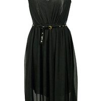 ROMWE | Dual-tone Belted Black Dress, The Latest Street Fashion