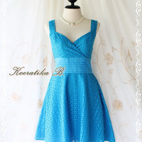 Sound Of Summer II - Sweet Elegant Spring Summer Lacy Sundress Blue Color Thick Cotton Lace Party Wedding Cocktail Dress