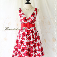 Miss Floral - Beautiful Floral Dress Red Floral Print Vintage Style Party Wedding Bridesmaid Country Dress XS-M