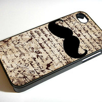 Vintage Text and Mustache  iphone 4 case, iphone case, iphone 4s case, iphone 4s, iphone 4 cover, iphone hard case, iphone 4,