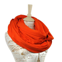 Large Orange Scarf Infinity Oversized Jersey Nomad Wide