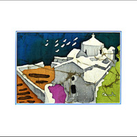 Chapel at Skopelos  Island Greece - Wall Art - Original Batik Painting - Silk (6 X 4)