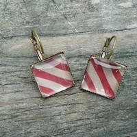 Red Tan Striped Earrings, Antique Bronze pierced tile type