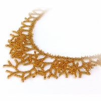 Honey Gold Necklace - Beaded Golden Necklace. Beadwork. Handmade Jewelry