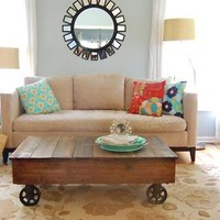 ANAS RUSTIC VINTAGE RECLAIMED WOOD FACTORY CART COFFEE TABLE | JoyAndJoshua - Furniture on ArtFire