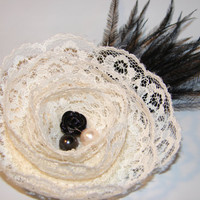 Beautiful ivory lace 3 bloom black resing rose by LizziesBowtique1