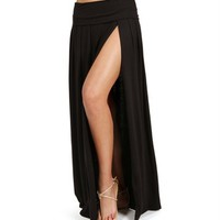 Black High Slit Maxi Skirt