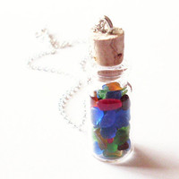 Seaglass Bottle Necklace Sea Glass Bottle by dreamsbythesea