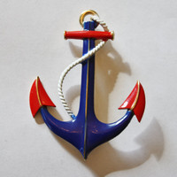 Vintage Trifari Brooch Enamel Anchor Red White Blue 1950s Jewelry