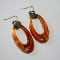 Vintage Faux Tortoise Shell Earrings Drop Dangle 1960s Jewelry
