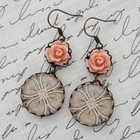 Peach and Taupe Earrings in Antique Brass. Roses. Neutral. Gift for her under 25 usd