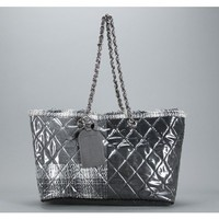 Chanel Quilted Grey Black Tweed Patchwork Shopper Shoulder Bag